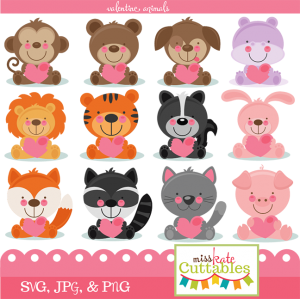 Miss Kate Cuttables Valentine Animals Bundle SVG files for scrapbooking free svg files for cricut machines free svg files