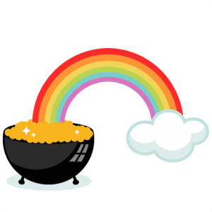 Pot of Gold With Rainbow SVG cutting files for scrapbooking cute files cute clip art  clipart free svgs silhouette cricut