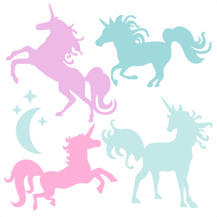 Unicorn Silhouette Set SVG scrapbook title cat svg cut files