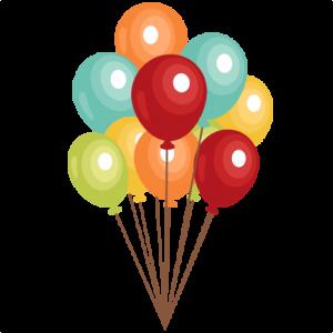 Birthday Balloons Clip Art SVG Scrapbook Cut File Cute